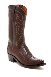 Lucchese Sienna Genuine Ostrich Leather Chocolate Boot Wide Width Available Black