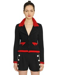 Boutique Moschino Two Tone Wool Blend Knit Jacket
