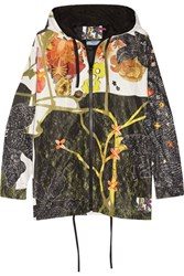 Prada Hooded Printed Silk Faille Jacket Black