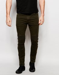 Asos Super Skinny Jeans With Biker Details In Khaki Forest Night