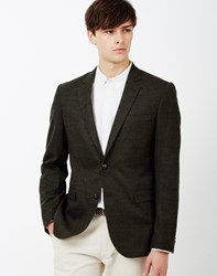 The Idle Man Tweed Blazer In Slim Fit Khaki Green