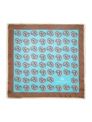 Chester Barrie Silk Paisley Pocket Square Teal