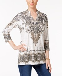 Jm Collection Embellished Split Neck Top Only At Macy's Neutral