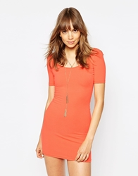 American Apparel Short Sleeve Body Conscious Dress With Low Back Coral