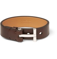 Tom Ford Leather And Palladium Plated Bracelet Chocolate