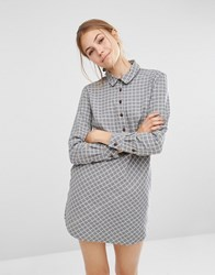 People Tree Dip Hem Chambray Shirt Dress Light Grey Melange
