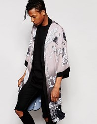 Jaded London Kimono With Ombre Floral Birds Print Grey