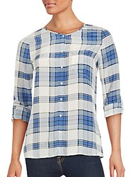 Joie Checkered Button Down Silk Shirt Faded Sky