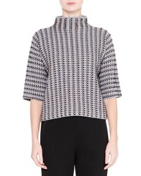 Giorgio Armani High Neck Printed Wool Top Black White