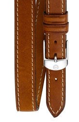 Michele 16Mm Leather Double Wrap Watch Strap Light Brown