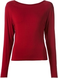 Donna Karan Boat Neck T Shirt Red