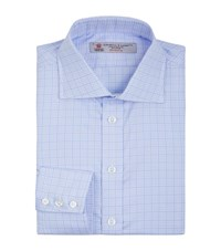 Turnbull And Asser Houndstooth Checked Slim Shirt Male Blue