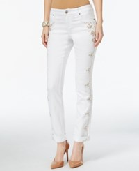 Inc International Concepts Regular Fit Straight Leg Embellished White Jeans Only At Macy's White Denim