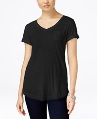 Styleandco. Style And Co. V Neck Tee Deep Black