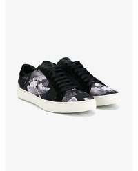 Off White Sky Print Suede Sneakers Black White Off White Denim