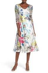 Komarov Women's Lace And Charmeuse A Line Dress