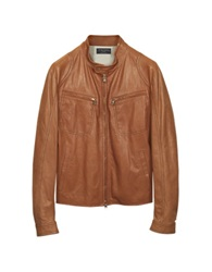 Forzieri Tan Leather Motorcycle Jacket