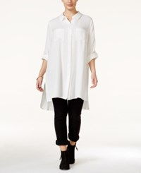 American Rag Plus Size Button Down High Low Oversized Blouse Only At Macy's Egret