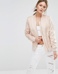 New Look Sateen Bomber Stone Beige