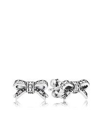 Pandora Design Pandora Stud Earrings Sterling Silver And Cubic Zirconia Sparkling Bow