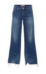 Amo Jane Mid Rise Destroyed Hem Bootcut Jeans Dark Wash
