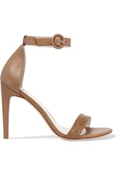 Iris And Ink Rivington Ostrich Effect Leather Sandals Brown