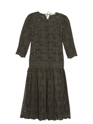 Queene And Belle Martha Broderie Anglaise Cotton Dress Dark Green