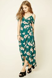 Forever 21 Floral Print Maxi Dress Teal Cream