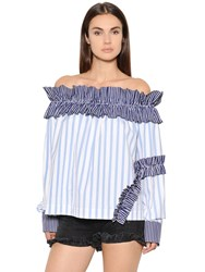 Msgm Ruffled And Striped Cotton Poplin Top