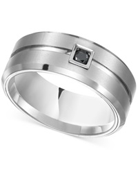 Macy's Triton Men's 9Mm Black Diamond Ring In White Tungsten Carbide 1 10 Ct. T.W.