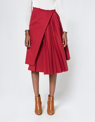 Off White Plisse Skirt In Red