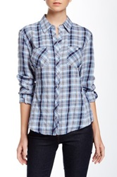 Sandra Ingrish Plaid Two Pocket Shirt Blue