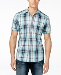 Inc International Concepts Mushburger Plaid Short Sleeve Shirt Only At Macy's Whispering Blue