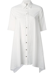 Mm6 By Maison Martin Margiela Long Line Buttoned Shirt White