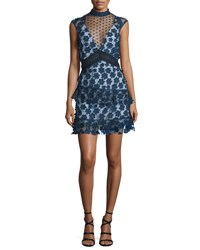 Self Portrait Sleeveless Tiered Lace Mini Dress Navy Navy Green