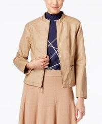 Alfani Seamed Faux Leather Jacket Only At Macy's Modern Camel