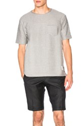 Thom Browne Engineered Rope Stitch Pocket Tee In Gray