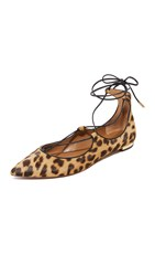 Aquazzura Christy Lace Up Flats Caramel Leopard