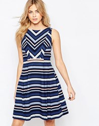 Oasis Chevron Stripe Dress Multi Blue