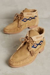 Anthropologie Sagebrush Moccasin Booties Stone Suede