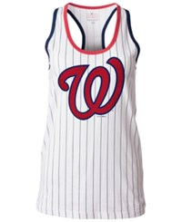 5Th And Ocean Women's Washington Nationals Pinstripe Glitter Tank Top White
