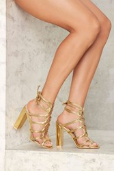 Nasty Gal First Place Lace Up Heel Gold