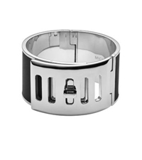 Michael Kors Silver Tone Turnlock Wide Bangle