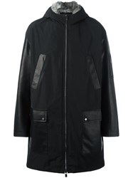 Drome Fur Trim Hooded Coat Black