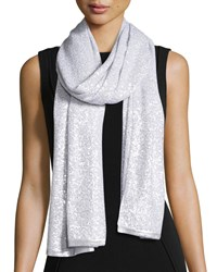 Sequined Cashmere Scarf Pearl White Donna Karan