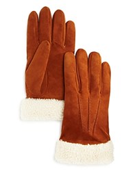 Bloomingdale's The Men's Store At Shearling Suede Gloves Cognac