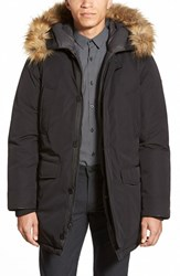 Men's Vince Camuto Down And Feather Parka With Faux Fur Trim