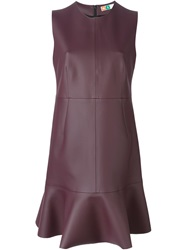 Msgm Peplum Hem Fitted Dress Pink And Purple