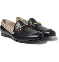 Gucci Satin Trimmed Leather Horsebit Loafers