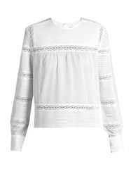 Etoile Isabel Marant Rexton Lace Insert Cotton Blouse White